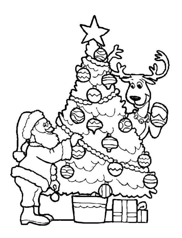 Santa Claus Decorating Christmas Tree with the Reindeer on Christmas Coloring Page