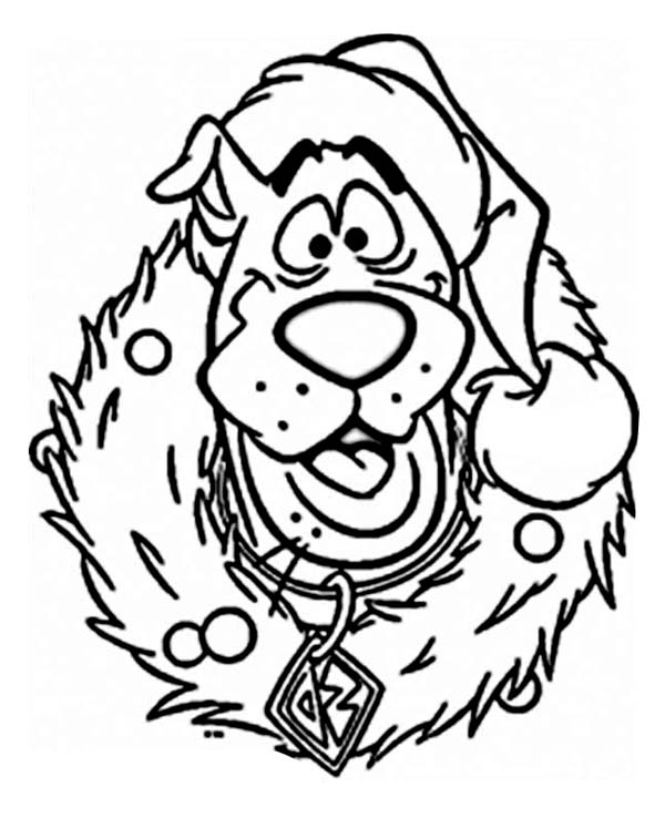 scooby doo wearing christmas wreath on christmas coloring page