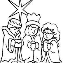 Three Wise Men on Christmas Day on Christmas Coloring Page