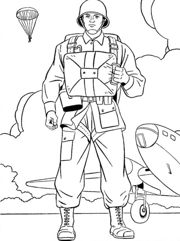 US Paratroopers Celebrating Veterans Day Coloring Page - NetArt