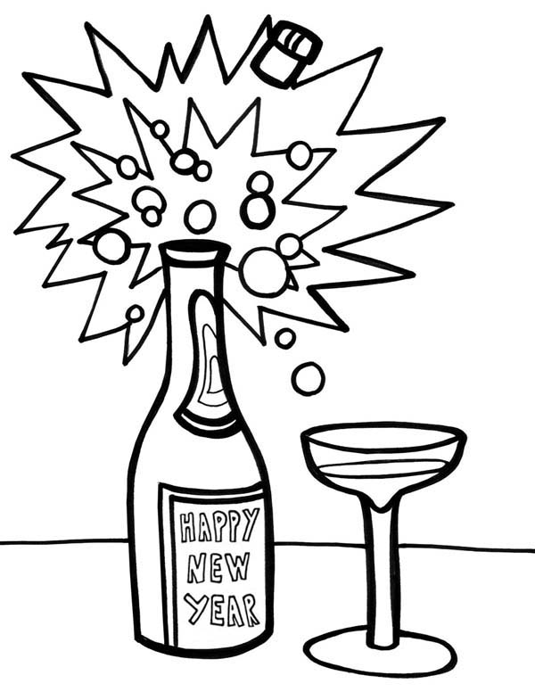 A Bottle Of Campagne For 2015 New Year Coloring Page