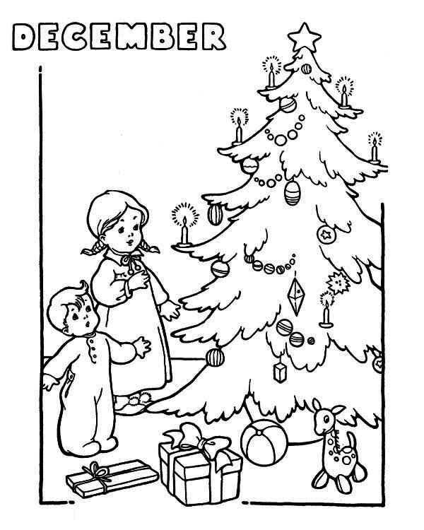 A Couple of Childrens Cheering the Christmas Trees on Winter Season Coloring Page
