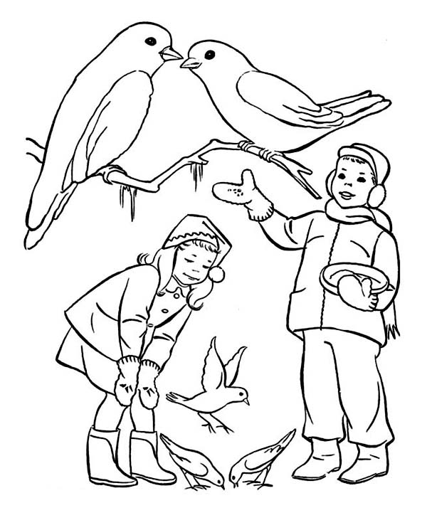 A Couple of Childrens Feeding Birds on Winter Season Coloring Page