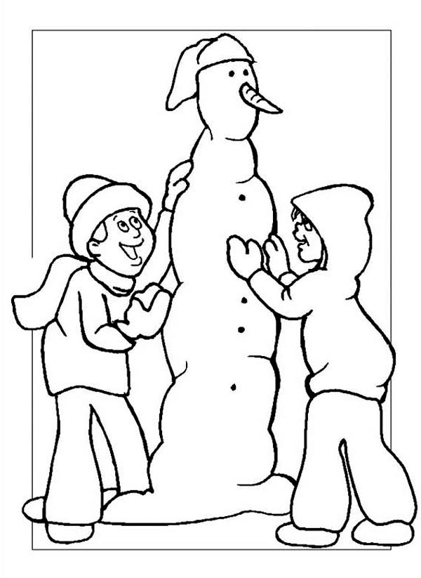 A Couple of Childrens Making Mr Snowman on Winter Season Coloring Page