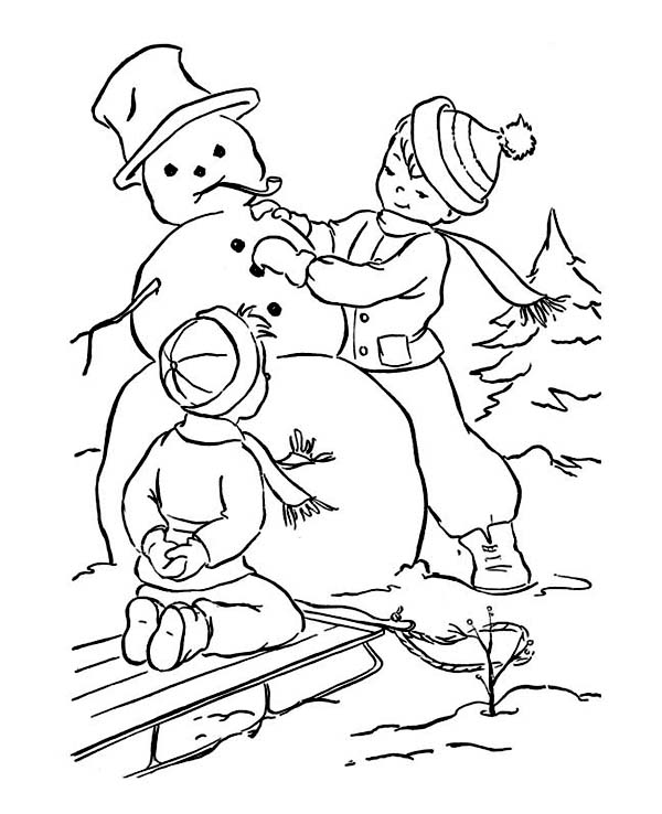 A Couple of Young Little Boy Making Mr Snowman on Winter Season Coloring Page