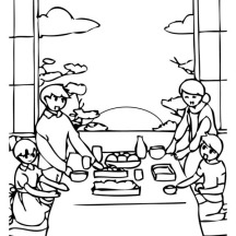 A Family Celebrating New Years Eve On 2015 Year Coloring Page