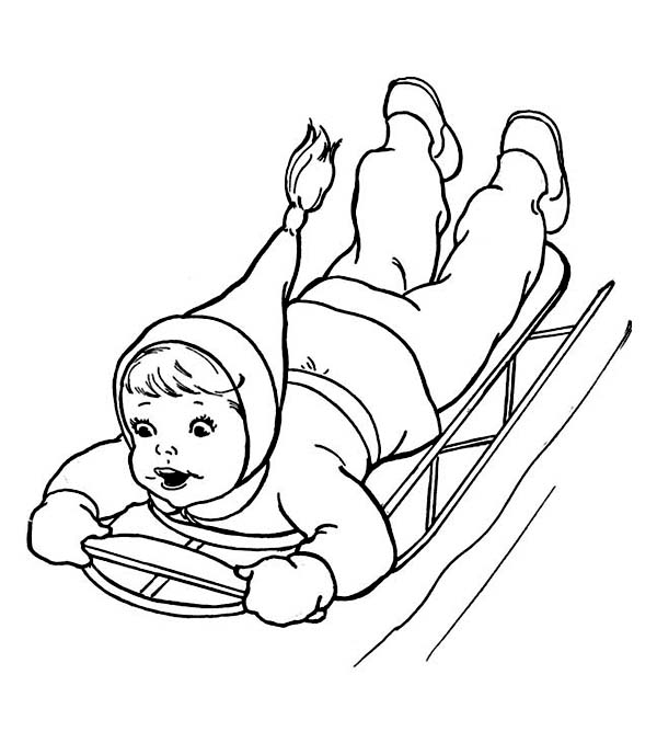 Brave Kid Sliding Down on Winter Season Sled Coloring Page