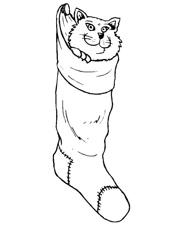 Cat Hiding inside Christmas Stockings Coloring Pages