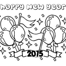 Cheerful Backdrop for 2015 New Year Coloring Page