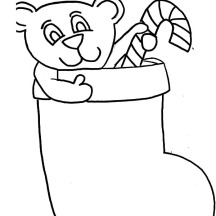 Christmas Stockings Fill with Teddy Bear and Candy Cane Coloring Pages