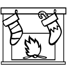 Christmas Stockings Hanging in Front of Fireplace Coloring Pages