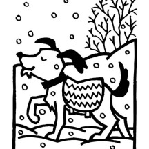 Dog on Warm Sweater During Winter Season Snow Coloring Page