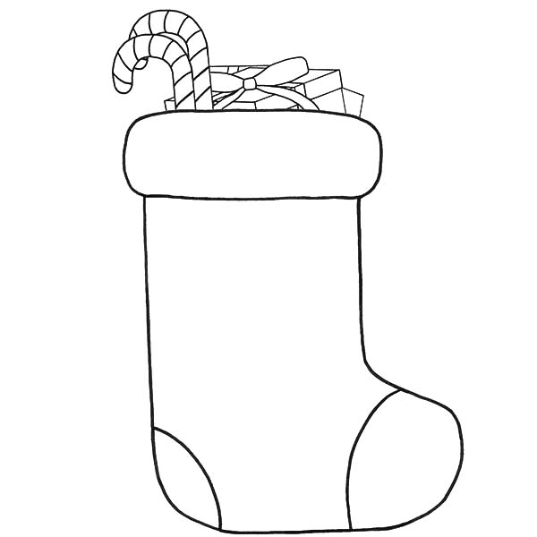 Drawing Christmas Stockings Fill with Candy Cane Coloring Pages - NetArt