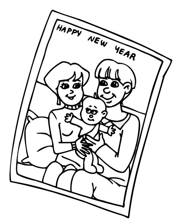 Family Portrait of on 2015 New Year Coloring Page
