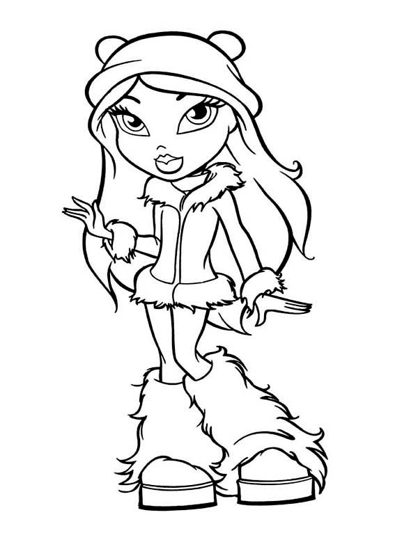 Fancy Teen Girl in Winter Season Outfit Coloring Page