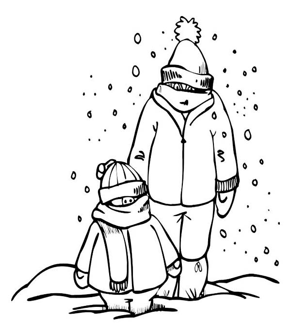 Father and Son on Complete Winter Season Outfit Coloring Page