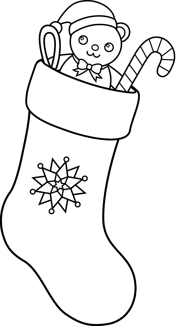 Fill in Christmas Stockings with Teddy Bear Doll and Candy Cane Coloring Pages
