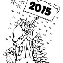 Joyful and Happy New Year Says Statue of Liberty on 2015 New Year Coloring Page