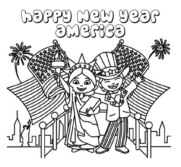 Joyful And Happy New Year To USA On 2015 Coloring Page