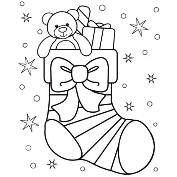 Little Teddy Bear in Christmas Stockings Coloring Pages NetArt