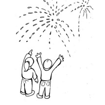 Lovely Fireworks on Public Celebration for 2015 New Year Coloring Page