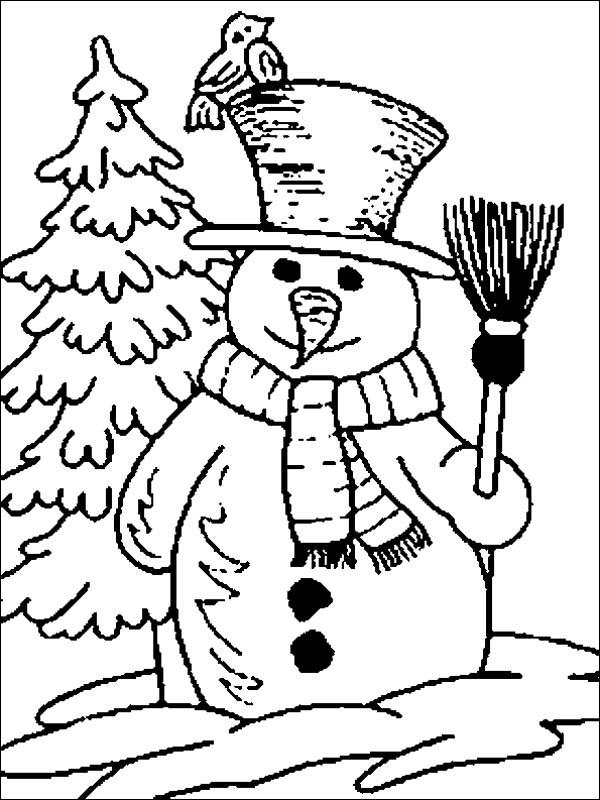 Mr Snowman Figure On The Open Winter Season Field Coloring