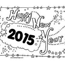 New Years Eve Celebration Sign Board on 2015 New Year Coloring Page