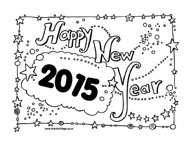 New Years Eve Celebration Sign Board On 2015 Year Coloring Page