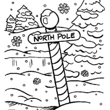 North Pole Sign on Heavy Winter Season Snow Coloring Page
