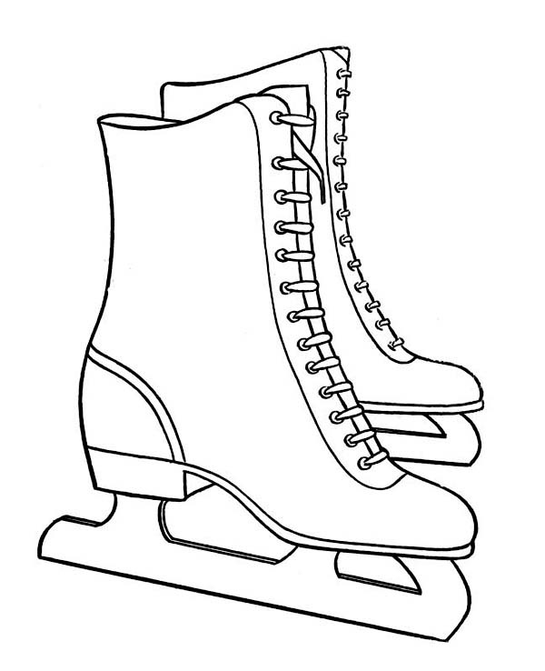 Pair Of Nice Winter Season Skate Boots Coloring Page Netart - coloring page winter boots
