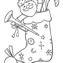 Santa Claus is Inside Christmas Stockings Coloring Pages