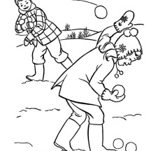 Snowball Fight with Friends During Winter Season  Coloring Page