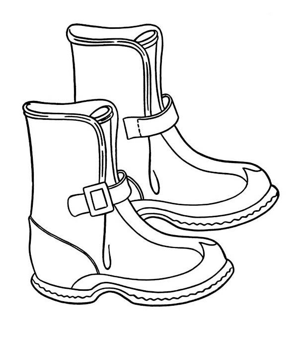 Solid Winter Season Boots To Wear Coloring Page Netart