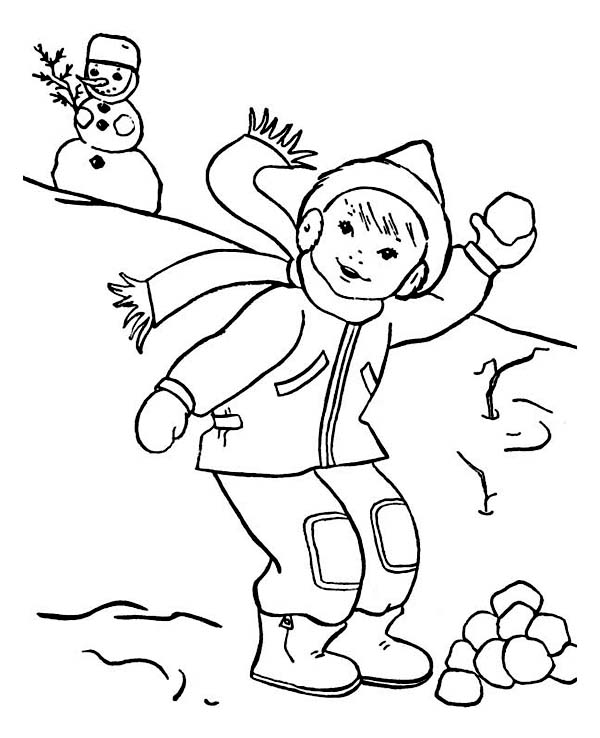 winter season coloring pages - throwing snowball on snowball fight during winter season