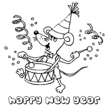 Tiny Mouse Playing Drums on 2015 New Year Coloring Page