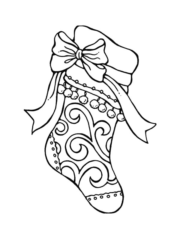 Tribal Decorated Christmas Stockings Coloring Pages - NetArt