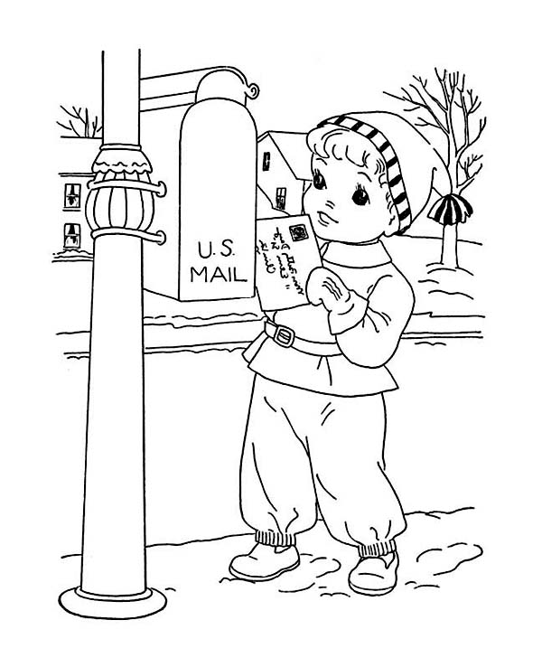 Young Little Kid Mailing Santa on Winter Season Christmas Present Coloring Page