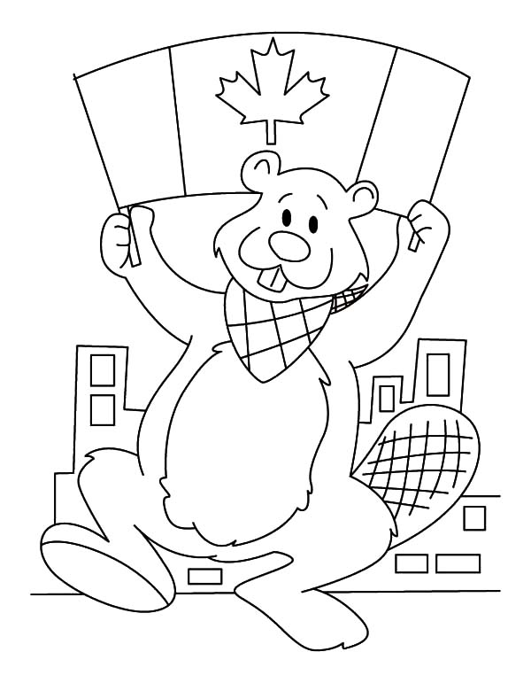 a canadian beaver with canada flag on memorable canada day coloring pages - Canada Flag Coloring Page
