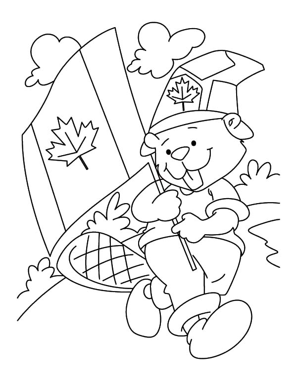 Cute Canadian Beaver Boyscout on Memorable Canada Day Coloring Pages