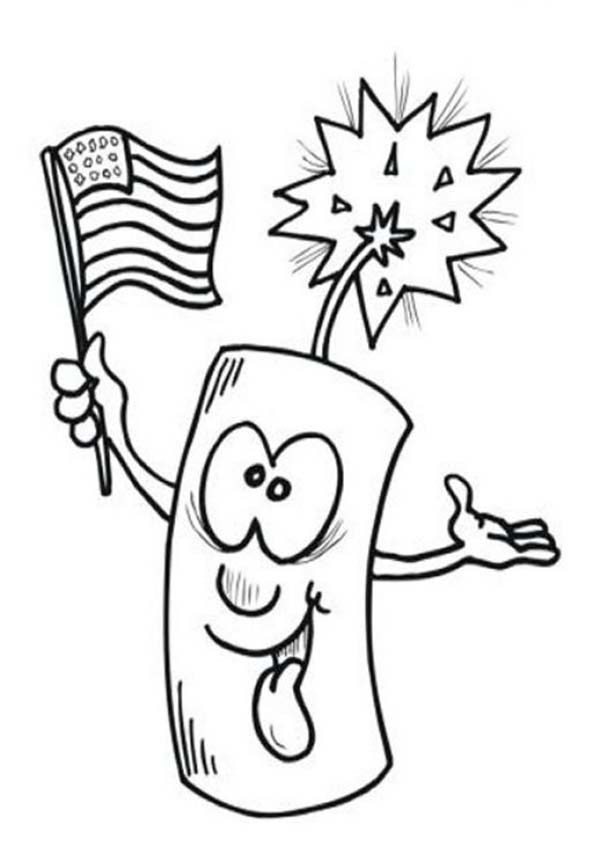 Ligh firecracker on Independence Day Event Coloring Page