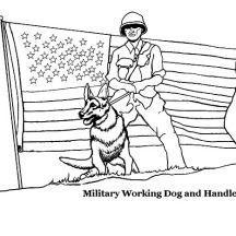 Military Working Dog And Handler On Independence Day Event Coloring Pages
