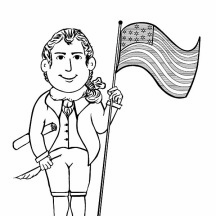 Molly and Francis USA Flag on Independence Day Event Coloring Pages