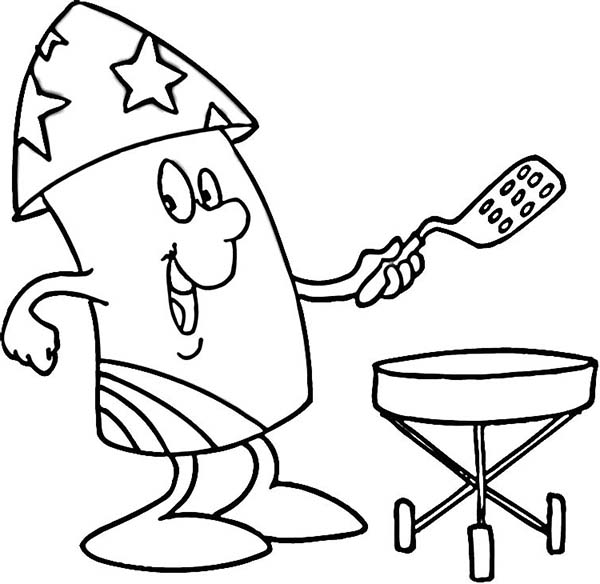 Mr Firework Cooking for Independence Day Event Coloring Page