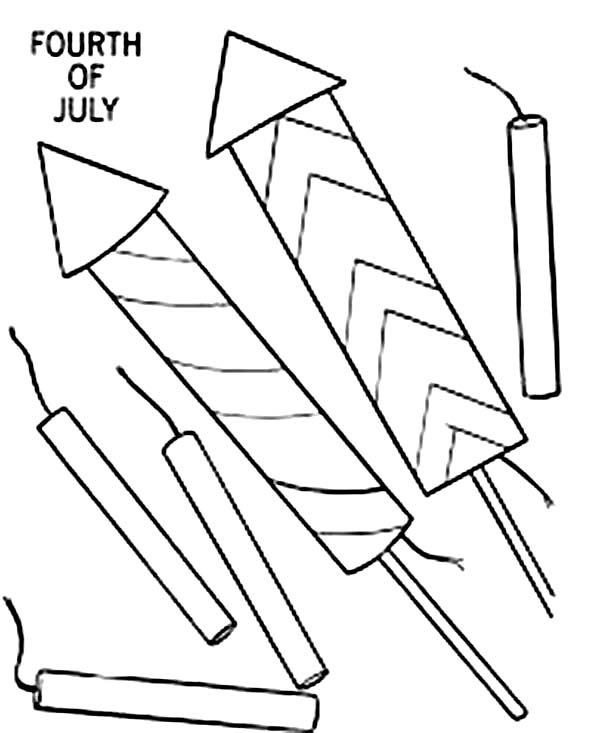 Preparing Fireworks and firecracker for Independence Day Event Coloring Page