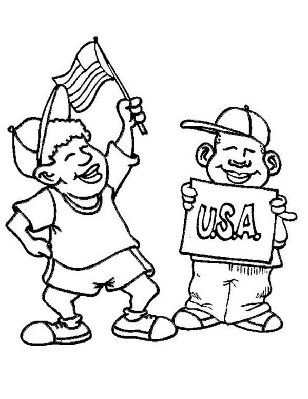 USA Childrens Celebrate Independence Day Event Coloring Page