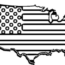 USA Flag Map for Independence Day Event Coloring Pages