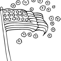 USA Flag and Flower for Independence Day Event Coloring Pages