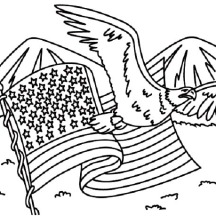 USA Flag and USA Eagle for Independence Day Event Coloring Pages