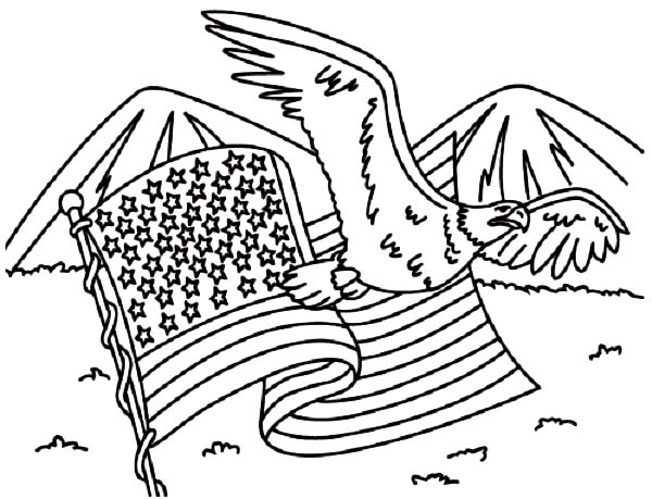 independence day coloring pages - usa flag and usa eagle for independence day event coloring