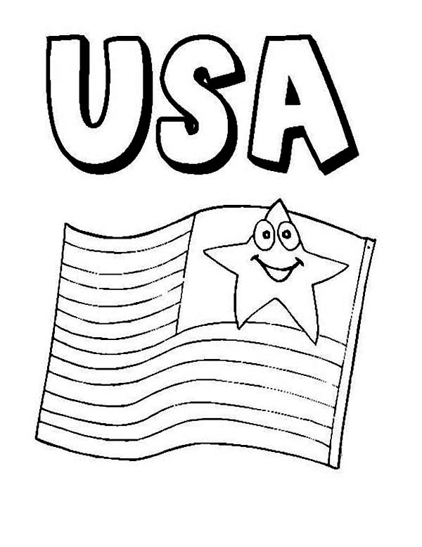 USA Flag on Independence Day Event Coloring Page